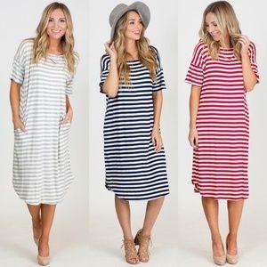 Boutique Black & White Stripe Dress with Pockets